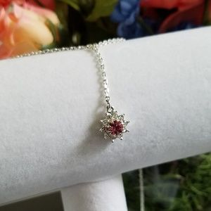 Jewelry - Pink Flower Silver Drop Necklace